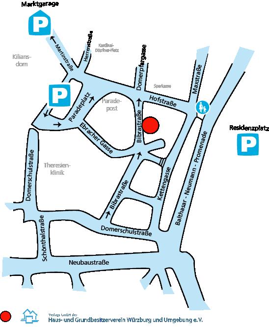 Lageplan zu den Geschäftsräumen des Haus und Grundbesitzerverbandes in Würzburg